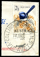 Lot 1978:Collingwood North (2): WWW #10A 'COLLINGWOOD NTH N.5/14JY65/VIC-AUST' on 2/5d Blue Wren. [Rated S]  PO 4/10/1948; LPO 5/7/1993.