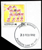 Lot 2050:Flinders Lane: WWW #540 'POSTAL MANAGER/13FEB1992/FLINDERS LANE VIC 3000' (ERD) on 15c Living Together. [The first offered by us.]  Replaced Degraves Street PO 1/9/1986.