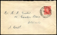 Lot 1434:Adelaide: 'ADELAIDE/11A16MY49/INWARD LATE FEE' on 2½d red KGVI, to Adelaide.  PO 10/4/1837.