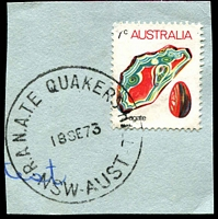 Lot 1065:Quakers Hill R.A.N.A.T.E. P.O.: 'R.A.N.A.T.E. QUAKERS HILL/18SE73/NSW-AUST' on 7c Agate.  Renamed from Schofields R.A.N.A.S. PO 2/1/1958; closed 31/1/1994.