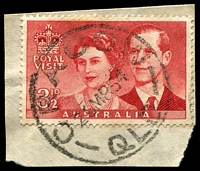 Lot 1285:Cracow (2): 'CRACOW/26MR54/QLD.' on 3½d Royal Visit.  PO 1/10/1932.
