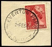 Lot 1299:Everton Park: 'EVERTON PARK/2-FE54/QLD.-AUST.' (ERD) on 3½d red QEII.  RO c.-/1/1899; PO 1/7/1927.