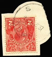 Lot 3236:S: 'S/730P24DE37/N.S.W' on 2d red KGV (partly cut-to-shape).