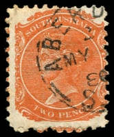 Lot 6851:Aberdeen: 23mm framed 'ABERD[EEN]/2/MY??/8?/S_[A]' on 2d orange DLR. [Rated 3R]  PO c.1874; renamed Burra North PO 1/12/1939.