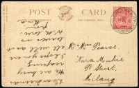 Lot 6431:Streaky Bay: 'STREAKY BAY/14DE10/STH AUSTRALIA' on 1d red DLR on multi-coloured PPC 'Hands Across the Sea' Beagles & Co. card, corner and edge faults.  PO 1/10/1862.