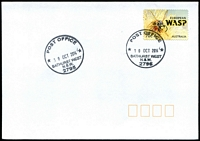 Lot 954:Bathurst West: 2 strikes of 'POST OFFICE/30OCT2014/BATHURST WEST/N.S.W./2795' on 70c European Wasp on unaddressed cover.  PO 7/9/1942.