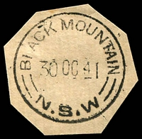 Lot 961:Black Mountain: 'BLACK MOUNTAIN/30OC41/=N.S.W=' on piece.  Renamed from Booroolong R.S. PO c.1886; closed 28/9/1985.