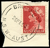 Lot 966:Brooklyn: 'BROOKLYN/26FE54/N.S.W-AUST' on 3½d red QEII.  Renamed from Peats Ferry PO 16/6/1888.