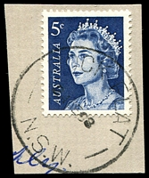 Lot 1071:Rock Flat: 'ROCK FLAT/???E68/N.S.W' on 5c blue QEII.  PO 1/1/1890; closed 13/1/1978.