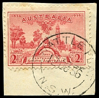 Lot 1126:Wattle Flat: 'WATTLE FLAT/12OC36/N.S.W' on 2d SA Centenary.  PO 1/4/1861; closed 31/10/1980.