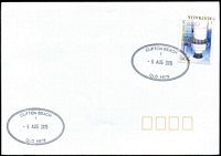 Lot 1282:Clifton Beach: 2 strikes of 42x27mm double-oval 'CLIFTON BEACH/1/6AUG2015/QLD 4879' on 70c Lighthouse on unaddressed cover.  PO 2/6/1969.