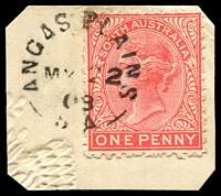 Lot 1436:Angas Plains (2): unframed 'ANGAS PLAINS/MY22/09/S.A' on 1d pink.  PO 1/11/1869; closed c.-/9/1910.