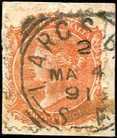 Lot 1468:Largs Bay: 24mm squared-circle 'LARGS B[AY]/2/MA4/91/S_A' (spaced lettering) on 2d orange DLR. [Rated 3R]  PO 17/1/1883.