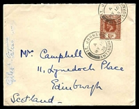 Lot 15284 [1 of 2]:1938 (May 16) use of Leewards 1½d red-brown KGV Die II on Government House cover to Scotland, annotation on side of cover has been partly obliterated.