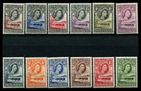 Lot 10167:1955-58 Pictorials SG #143-53 set of 12, 4d & 1/3d to 10/- MUH, rest have hinge rems, Cat £100.