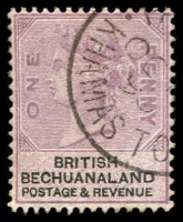 Lot 2677:1888 Fiscal Designs Wmk Orb SG #10 1d lilac & black, canceled with fine part strike of 'PA[LACHWE]/OC?/90/KHAMAS TO[WN]