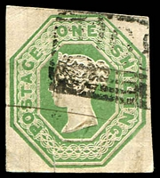 Lot 11119:1847-54 Embossed SG #55 1/- green 4-margins, small split along silk thread, other small faults.