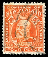 Lot 3306:1909-16 KEVII Wmk Single NZ/Star Perf 14 SG #396