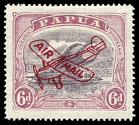 Lot 6856:1930 Plane Airmail Overprints SG #119 6d dull purple & red-purple with rare Deep carmine overprint.