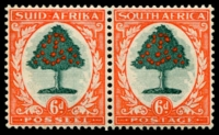 Lot 13473:1933-48 Pictorials SG #61 6d green & vermilion Die I horizontal pair, Cat £70.