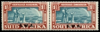 Lot 21128 [1 of 2]:1938 Opts on Voortrekker SG #109-10 1d & 1½d in pairs, Cat £38.