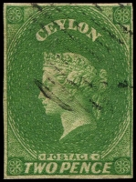 Lot 2736:1857-59 Imperf Chalon Wmk Star SG #3a