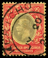 Lot 2806:1912-21 KGV Wmk Mult Crown/CA SG #50b 25c black & red/lemon, Cat £11, cancelled with fine 'KERICHO/JY20/20/[?]