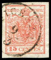 Lot 3174:1854-57 Arms Machine-Made Paper SG #7 15c red type III 4 margins, '[V]