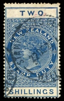 Lot 15417:1882-1930 Cowan Paper Wmk NZ/Crown Perf 14½x14 SG #F111 2/- deep blue.