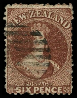 Lot 13449:1864-71 Chalon Wmk Large Star Perf 12½ At Auckland SG #122a 6d brown, Cat £42.