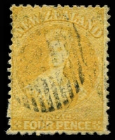Lot 13448:1864-71 Chalon Wmk Large Star Perf 12½d At Auckland SG #120 4d yellow, Cat £120.