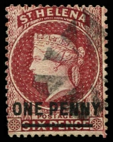 Lot 20664:1864-80 Wmk Crown/CC Surcharges Perf 14x12½ SG #21 1d lake Type B, Cat £15.