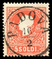 Lot 10079:1858 New Currency Type II SG #19B 5s red, fine 'PADOVA/16/2' cancel.
