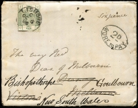 Lot 1341 [1 of 2]:1886 (Nov) arrival from England with 6d dull green (cat £380 on cover), redirected to Goulburn NSW with very fine oval '2d/MORE TO PAY' on face for redirection fee?, light clear 'TRAVELLING P.O. NO3 SOUTH.A/NO16/86/N.S.W' (Peck #3S6 Rated 7) backstamp.