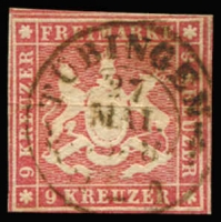 Lot 17241:1857 Arms With Silk Thread Mi #9b 9kr carmine, close/slightly cut into margins, Cat €1,200.