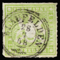 Lot 17242:1865 Arms New Colours Roul 10 Mi #30a 1kr yellow-green, Cat €15.