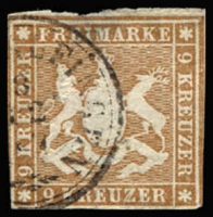 Lot 17245:1865 Arms New Colours Roul 10 Mi #33a 9kr reddish brown, faults (thin etc), Cat €100. Thoma expertising handstamp.
