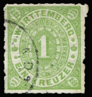 Lot 17246 [2 of 2]:1869 Numeral Roul 10 Mi #36a 1kr green x2 shades. (2)