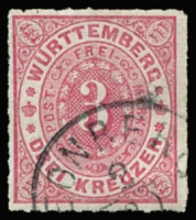 Lot 17248 [2 of 2]:1869 Numeral Roul 10 Mi #38 3kr rose x2 shades (2)