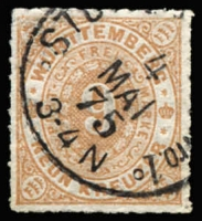Lot 17249:1869 Numeral Roul 10 Mi #40a 9kr brown, Cat €50