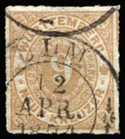 Lot 17250:1869 Numeral Roul 10 Mi #40a 9kr brown, Cat €50