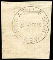 Lot 989:Five Dock (2): 'PAID AT FIVE DOCK/24D-1FE39/N.S.W' (sic) on piece. [From manufacturer's proof page]  PO 1/11/1876.