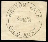 Lot 1314:Hatton Vale: 'HATTON VALE/24NO38/QLD-AUST.' on piece. [From manufacturer's proof page]  Renamed from Woolshed Creek RO c.1889; PO c.1903; closed 30/9/1974.