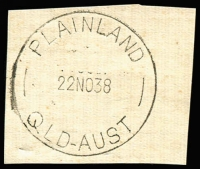 Lot 1352:Plainland: 'PLAINLAND/22NO38/QLD-AUST' on piece. [Rated 3R - From manufacturer's proof page.]  RO c.1887; PO c.1899; RO c.1914; closed 14/9/1966.