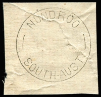 Lot 1486:Nundroo: 'NUNDROO/ /SOUTH AUST' (no dateline) on repaired piece. [Rated R - From manufacturer's proof page, real date c.24JA39.]  TO c.-/4/1910; RO 2/1/1911; PO c.1912; TO 30/4/1967; closed 3/11/1967.