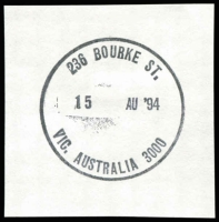 Lot 12683:Little Bourke Street: WWW #10 '236 BOURKE ST./15 AU'94/VIC. AUSTRALIA 3000' (last day) on piece.  Replaced 236 Bourke Street PO 8/8/1994.