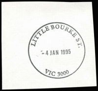 Lot 12684:Little Bourke Street: WWW #100 34½mm 'LITTLE BOURKE ST./4JAN1995/VIC 3000' (9DL - last day) on piece.  Replaced 236 Bourke Street PO 8/8/1994.