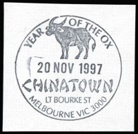 Lot 12688:Little Bourke Street: WWW #160 'YEAR [ox] OF THE OX/20NOV1997/CHINATOWN/LT BOURKE ST/MELBOURNE VIC 3000' on piece.  Replaced 236 Bourke Street PO 8/8/1994.
