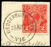 Lot 2425:Wedderburn Junction: WWW #20 'WEDDERBURN JCTN/28AU31/VIC' on 2d red KGV on piece.  Renamed from Wedderburn Road PO 15/1/1889; closed 11/11/1977.