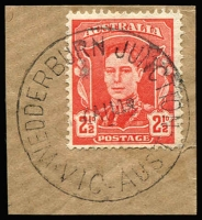 Lot 2426:Wedderburn Junction: WWW #30A 'WEDDERBURN JUNCTION/4AU48/VIC-AUST' on 2½d red KGVI on piece.  Renamed from Wedderburn Road PO 15/1/1889; closed 11/11/1977.